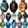3D Sweatshirt Animal Print Pullover Thick Casual Hoodie Fishing Clothes Tops