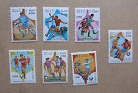 1986 LAOS SET 7 FOOTBALL MINT STAMPS MNH