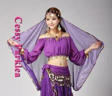 Adults Belly Dance Costume Bollywood Chiffon Sequins Head Scarf Yellow Red Pink