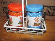 Salt & Pepper Shaker vintage Metal Farm Pig & Hen with basket