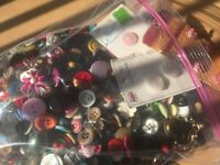 HUGE Vintage  BUTTON COLLECTION LOT Metal/Plastic/Wood/Leather-12 #s-Assorted