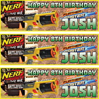 2 x personalised birthday banner party nerf party boys girls any name ages