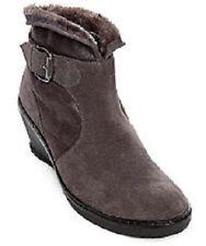 BareTraps Omara Dark Grey Fur Lined Fx Suede Water Resistant Wedge Ankle Boots