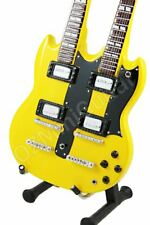Miniature Guitar Zakk Wylde DOUBLE NECK Yellow & Strap