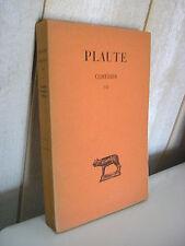 PLAUTE / COMEDIES Tome VII Collection Budé 1940