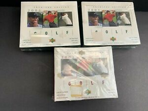 2001 TIGER WOODS UPPER DECK GOLF FACTORY SEALED BOX 3 POSSIBLE T WOODS ROOKIE