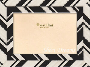 Natalini Hand Made in Italy Black and White Wood Marquetry Photo Picture Frame