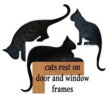 Unique Set of three black wood grained plastic silhouette cat door toppers USA