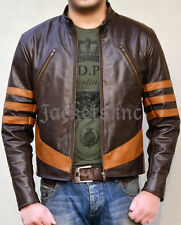XMEN 1 WOLVERINE BROWN BIKER LEATHER JACKET ALL SIZES HALLOWEEN COSTUME