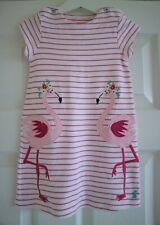 Joules Pink & White Stripe Applique Flamingo Dress Age 3 Years