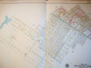 Brooklyn, NY atlas map - Original - Bromley 1908 - plate 43  linen East New York