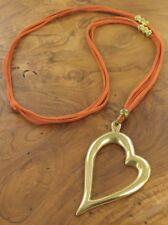 Gamuza naranja los filamentos de oro Antiguo Collar Largo Corazón Abstracto En Capas