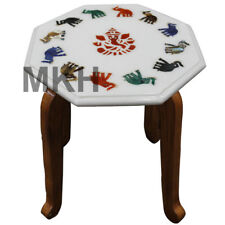 Marble Side Table Coffee Table Top Inlay Stones Mosaic Vintage Marquetry Antique