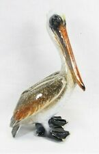 Pelican standing hand painted ceramic figurine Tropical decor