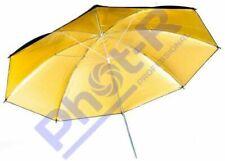 "Phot-R 43""/109cm Black/Gold Photo Light Studio Flash Diffuser Reflector Umbrella"