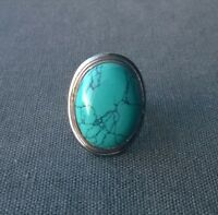 SOLID 925 STERLING SILVER BIG TURQUOISE OVAL STONE RING O