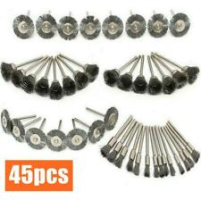 45pcs Stainless Steel Wire Brush Set Drill Tool Rotary Die Grinder Removal Wheel