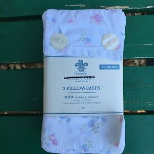 2 Simply Shabby Chic Rachel Ashwell CANDY FLORAL Pink Blue PIllowcases