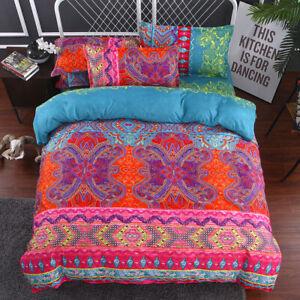 3D Bohemia Duvet Quilt Cover Colorful Bedding Set Pillow Case Single Double King