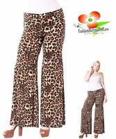 PLUS Size Brown Animal Leopard Fold over Wide Bell Leg Palazzo Pants 1X 2X 3X 4X