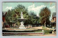 Syracuse NY, Historic Onondaga Street, Fountain, Homes Vintage New York Postcard