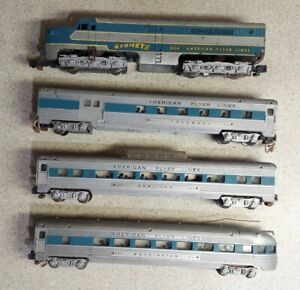 American Flyer Lines 466 Silver Comet Locomotive & 3 Cars #960, #962, #963 AS IS