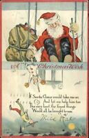 Christmas - Santa Claus Dropping Toys From Airplane C-274 Nash Postcard