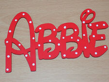 Any Name DISNEY style name sign - RED with polka dots bedroom wall/door