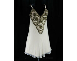 Size 10 Designer Dress - Sumptuous Ivory Silk Chiffon & Beaded Wool A-Line