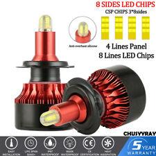 2Pcs 8-side H7 LED Headlight Kit 200W 15000LM 6000K White High Power Bulbs