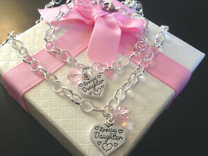 * SALE* personalised girls necklace bracelet set pink choose charm in gift box
