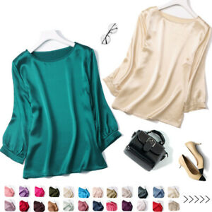Women's 100% Pure Silk with sleeve Round Neck Top Blouse Shirt L XL JN008