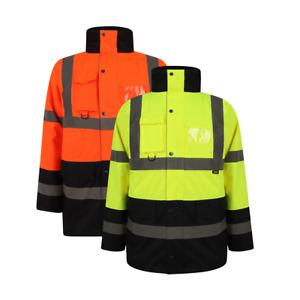 Two Tone Workwear High Viz 3/4 Parker jackets Visibility Waterproof Coat Padded