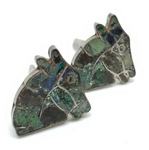 Ornate Vintage Signed Sterling Silver Turquoise Mosaic Chip Tile Horse Cufflinks