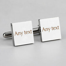 Personalised Any Text Cufflinks Engraved Anniversary Birthday Wedding Men Gift
