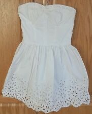 Womens HOLLISTER~WHITE EYELET DRESS~size SMALL~NEW~Short MINI Strapless COTTON