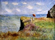 Stretched Hand Painted Oil Painting, Monet Cliff Walk Pourville Repro, 36x48in