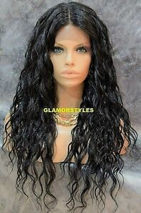 Free Part Human Hair Blend Lace Front Full Wig Long Wavy Layered Jet Black #1