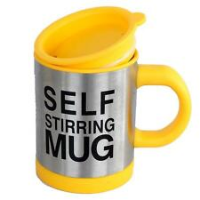 Yellow Self Stirring Hot Cold Drink Tea Coffee Soup Lazy Mug Cup Home Office UK