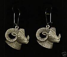 Empire Pewter Big Horn Sheep/ Ram Head Dangle Earrings