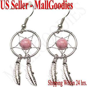 E002 Pink Dreamcatcher Dream Catcher Earrings Feathers Bead Design Shape Color