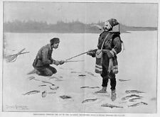 ICE FISHING, FREDERIC REMINGTON TROUT ICE FISHING PRINT