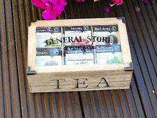 Natural Shabby Chic Teabox with 48 Assorted Fairtrade Enveloped Tea Bags