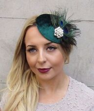 Dark Green White Peacock Feather Pillbox Hat Fascinator Hair Clip Vintage 2996