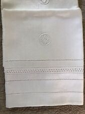 Set Of 3 Antique Linen White Towels