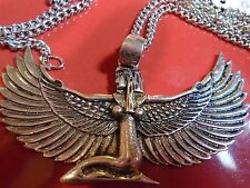 """UNIQUE BIG EGYPTIAN SILVER WINGED GODDESS necklace 2.5"""" WINGSPAN & 27"""" chain"""