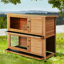 """48"""" Wood Wooden Rabbit Hutch Small Animal House Pet Cage Chicken Coop Waterproof"""