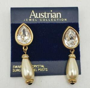 Vintage & RARE Austrian SWAROVSKI CRYSTAL Surgical Steel Post Earrings Dangling