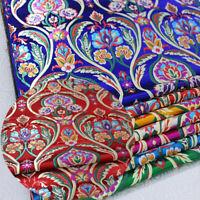 Chinese Vintage Satin Silk Brocade Jacquard Flower Fabric Costume Dress Sewing