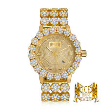 Real Diamond Yellow Gold Custom Roman Flower Ice House Men's Luxury Watch W/Date
